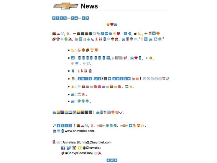 Chevrolet press release emojis
