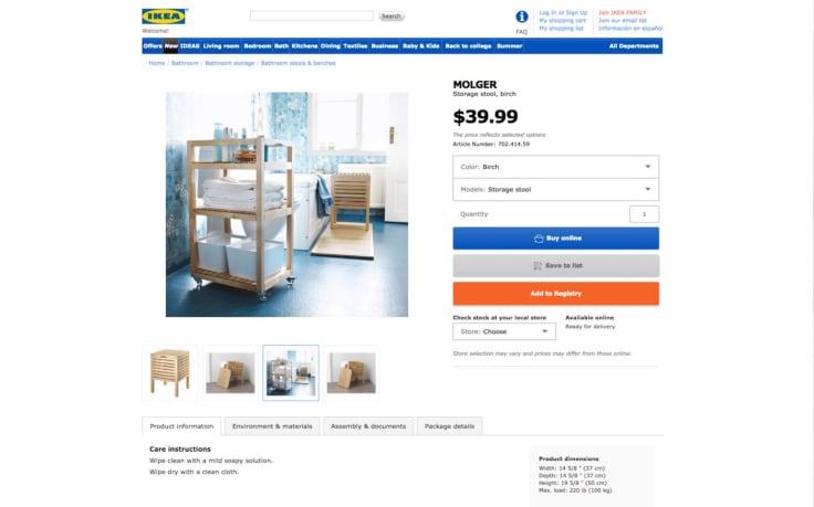 Ikea website