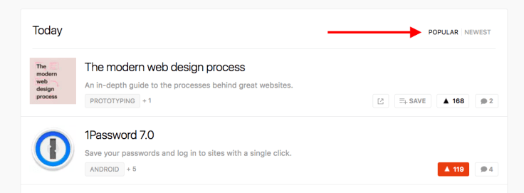 Product hunt sections