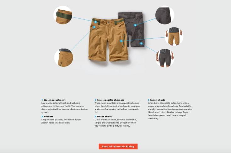 Patagonia mountain bike landing page