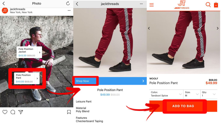 Jackthreads instagram shoppable tags