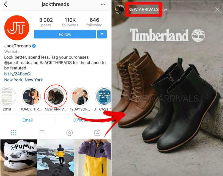 Jackthreads instagram insta stories ecommerce