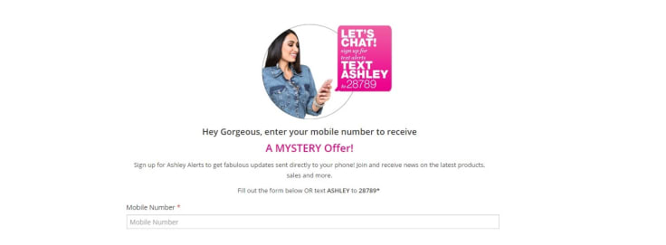 Ashley stewart signup for special offers text messaging