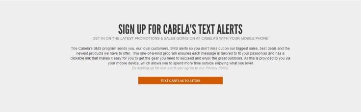 Cabela discount offers text messaging sing up altert