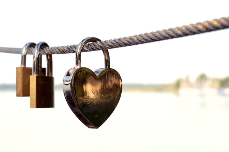Heart shape padlock