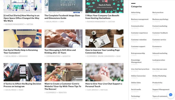 Livechat blog categories sidebar
