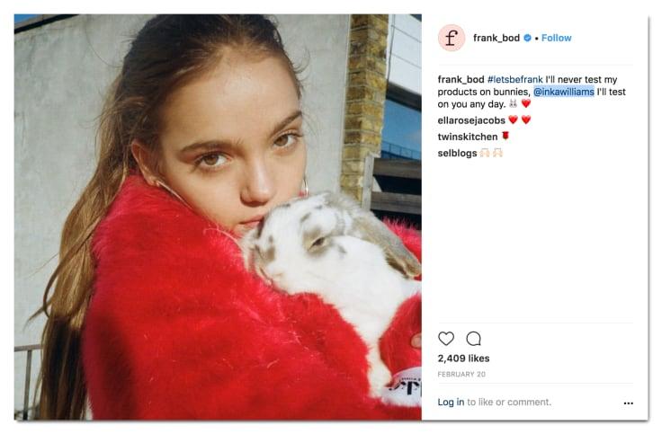 Frank body instagram post
