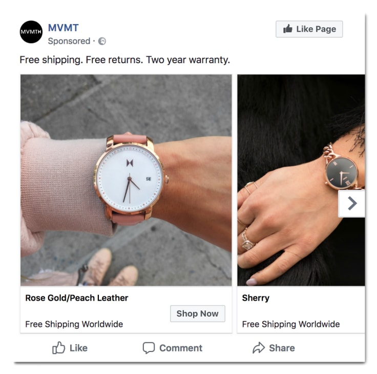 MVMT retargeting facebook ad
