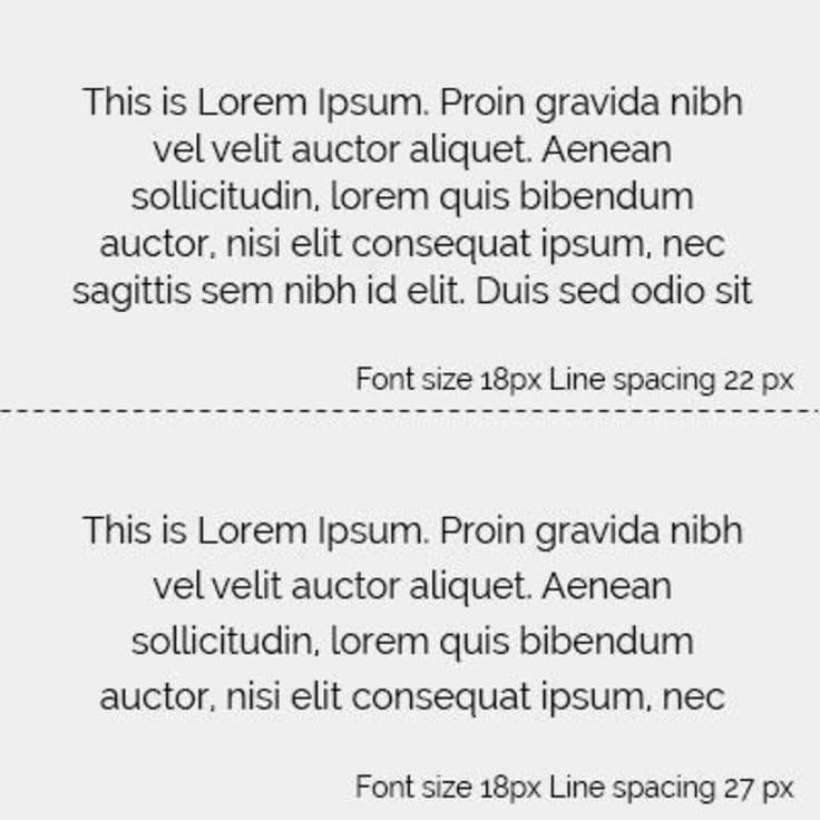 Font spacing comparison text