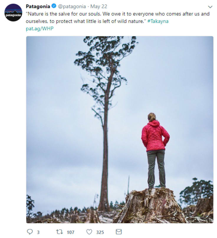 Patagonia clothing twitter post