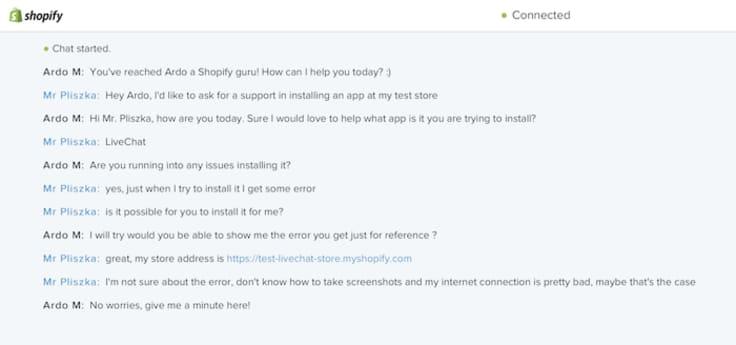 Shopify live chat conversation