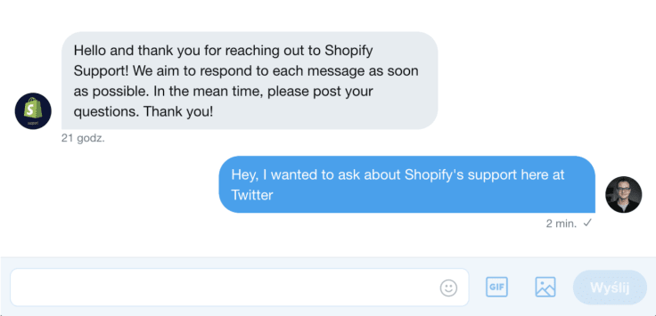 Shopify twitter support