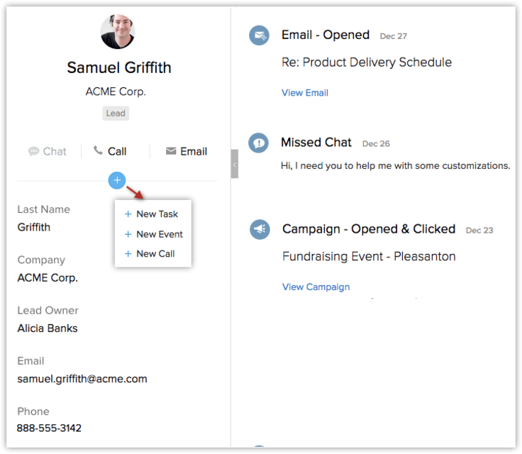 Crm record example
