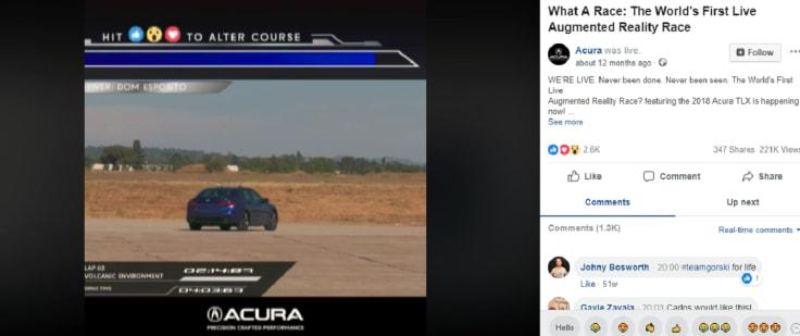Acura live streamed AR race