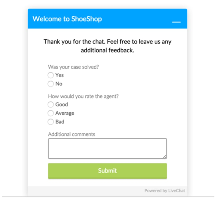 livechat post chat survey
