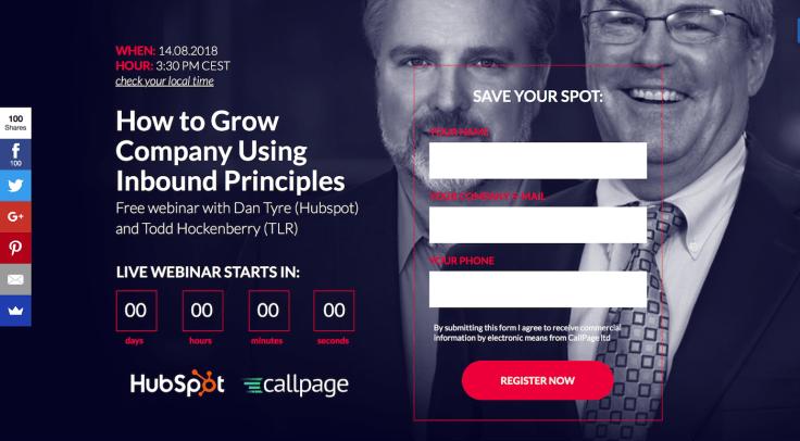 Callpage hubspot webinar signup page