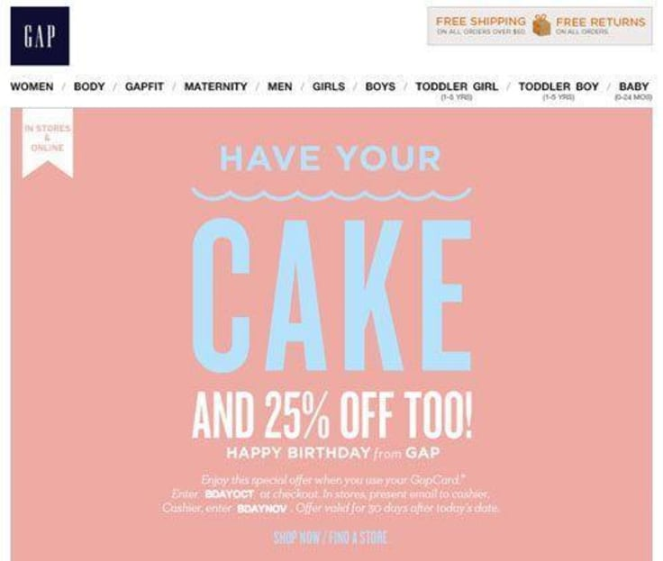 Happy birthday email marketing birthday offer