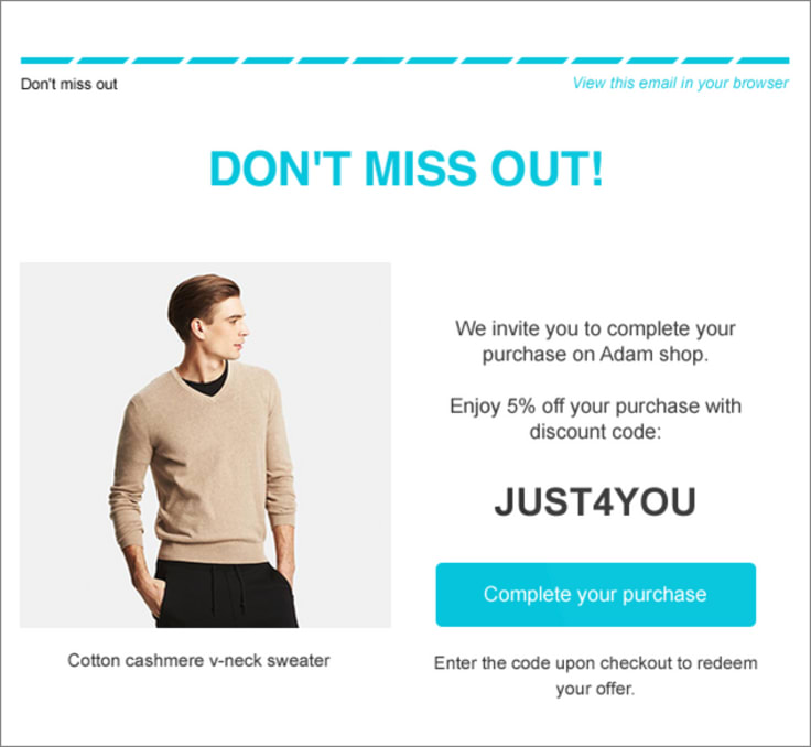 Adam shop personalized offer email