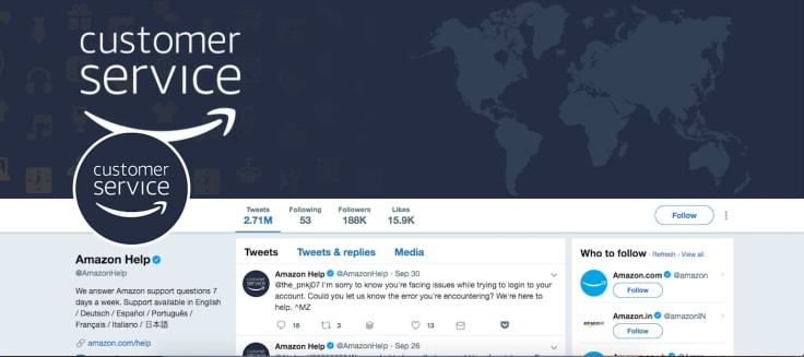 Amazon twitter customer service