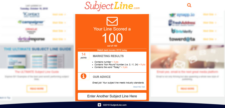 Subjectline landing page