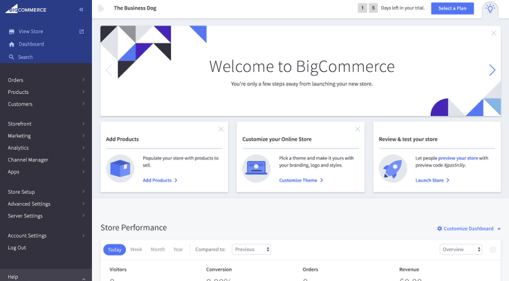 Bigcommerce dashboard view adding products