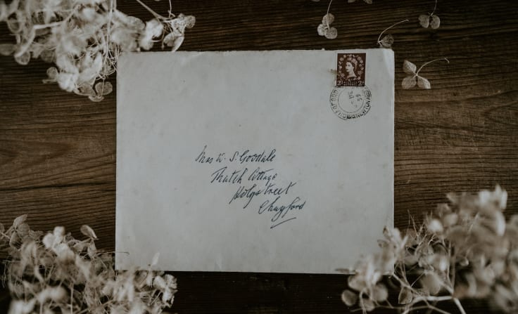 Addressed envelope flowers vintage