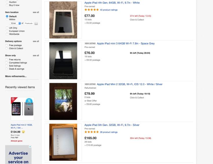 Ebay apple ipad product list