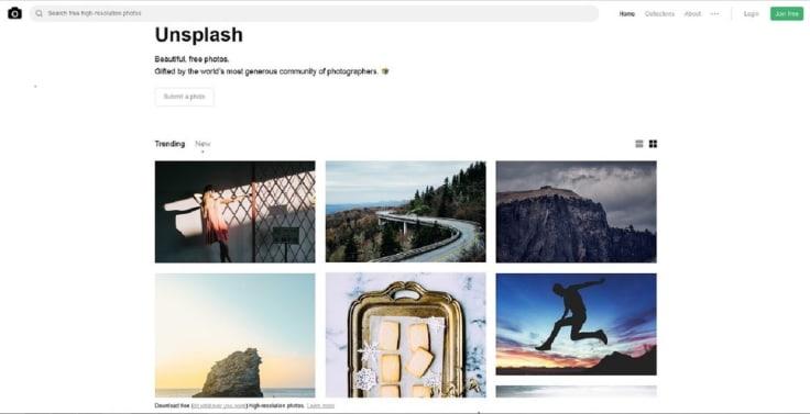 Unsplash search site