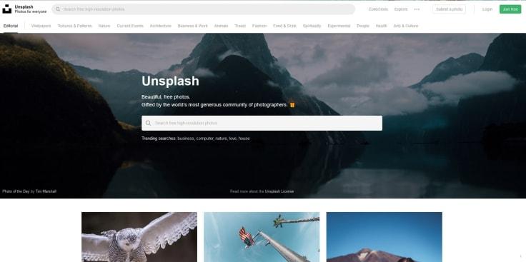 Unsplash main website