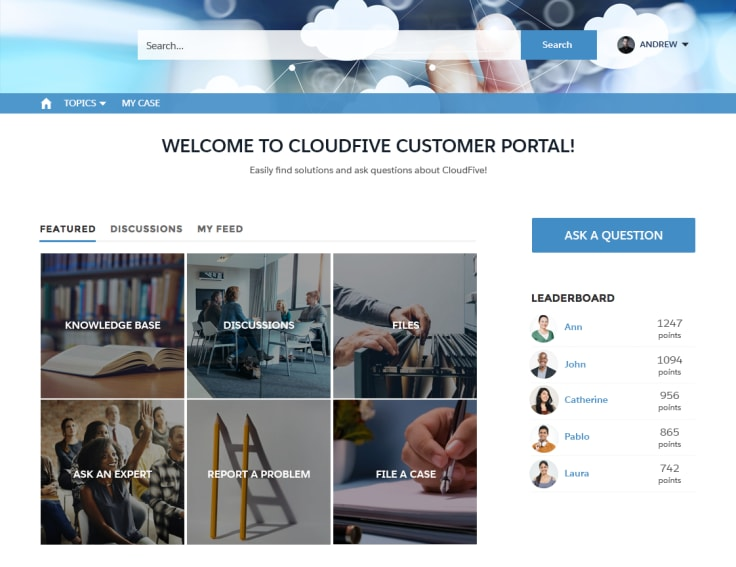 Customer portal website screen