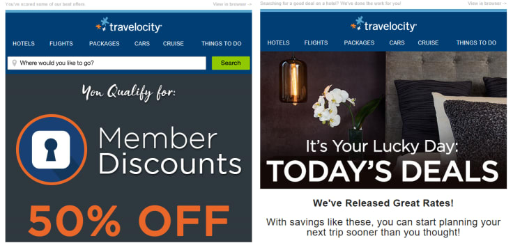 Travelocity email