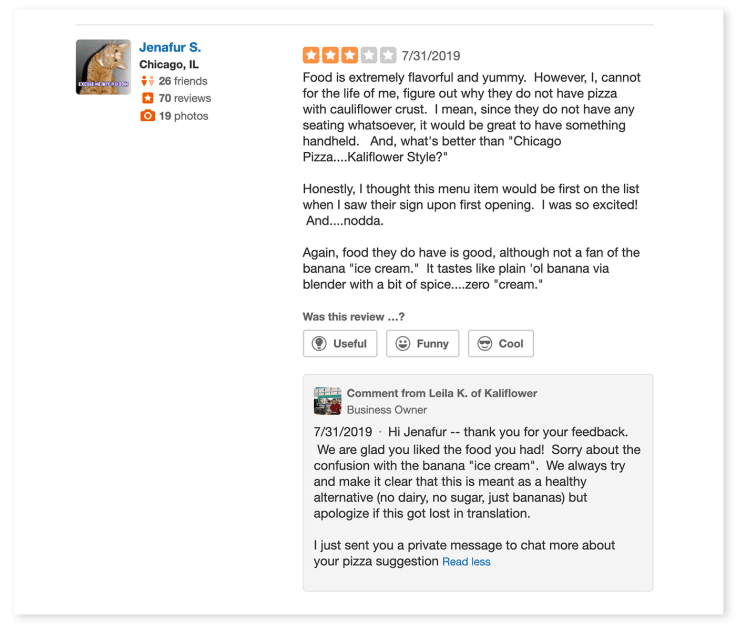 Yelp negative review analyze and apologize