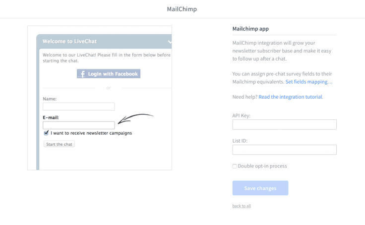 LiveChat Mailchimp integration