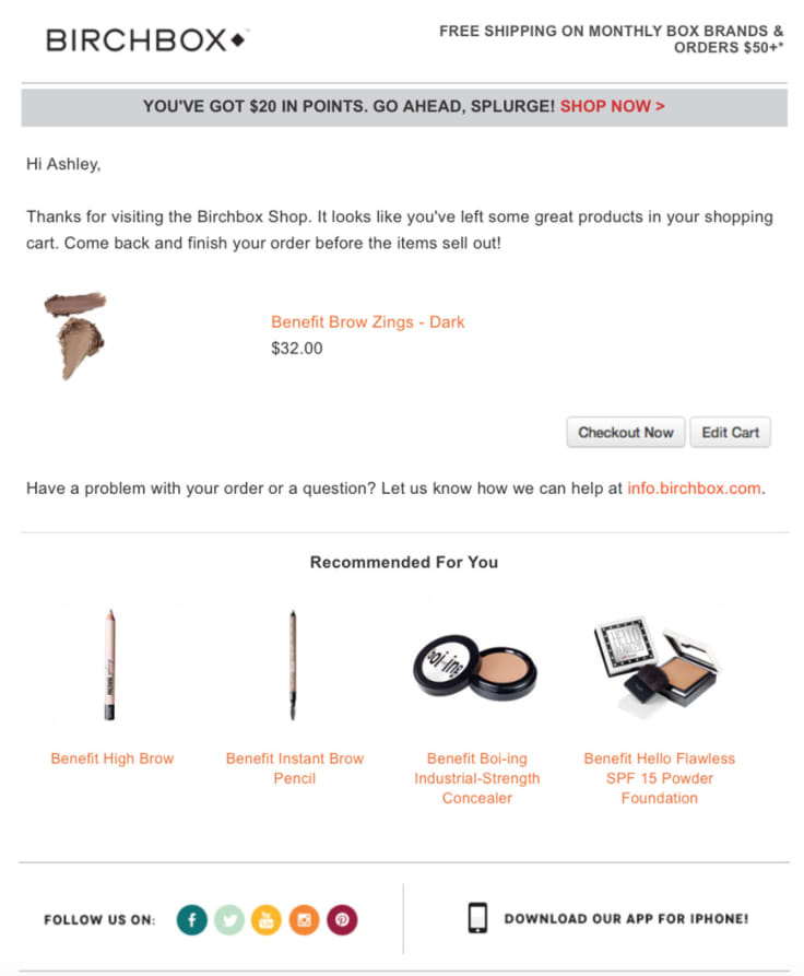 Win-back email Birchbox