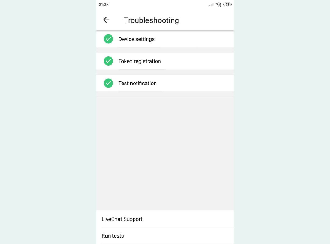 LC Lite in-app troubleshooting