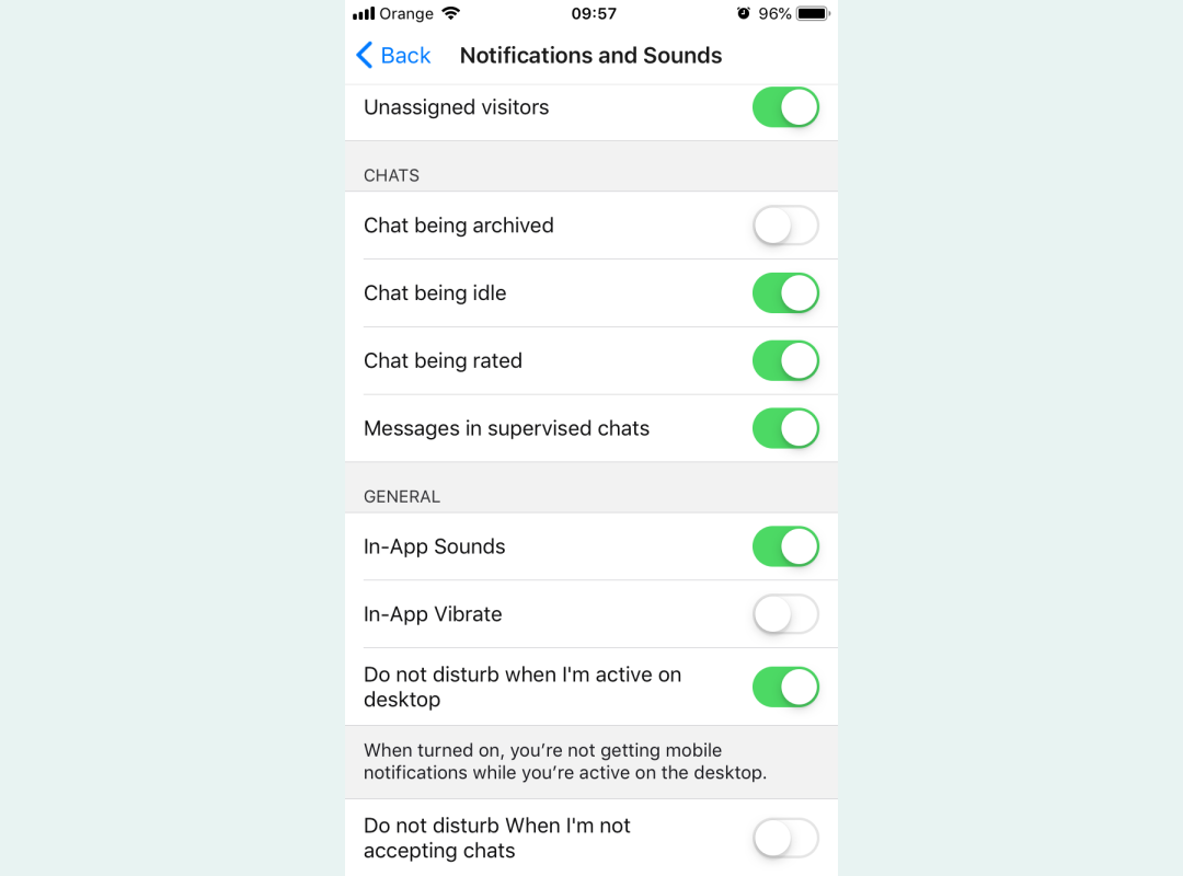 LiveChat Lite Notification preferences