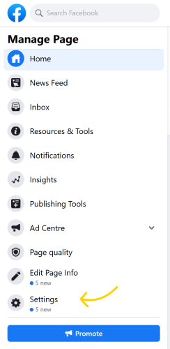 Log into your Facebook Business Page and go to settings.