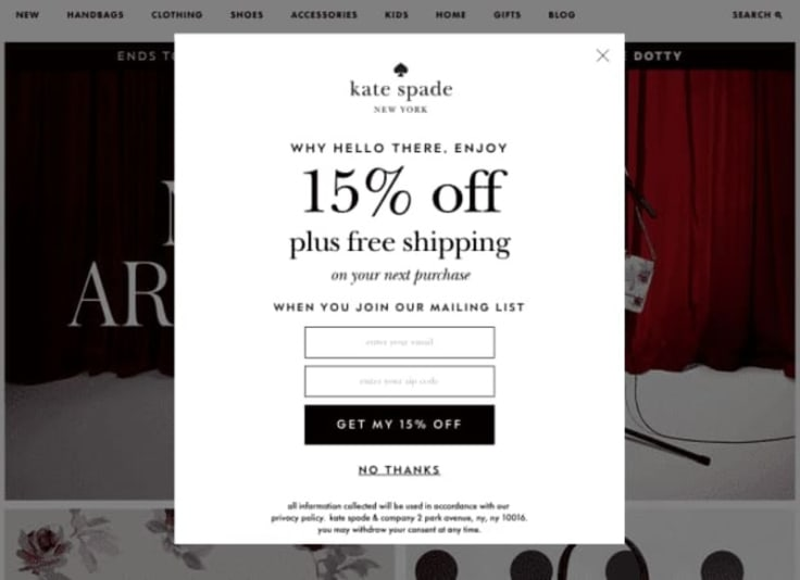kate spade email marketing
