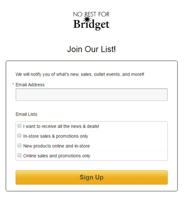 No Rest For Bridget email marketing