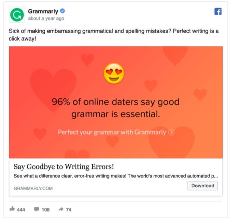 grammarly facebook page
