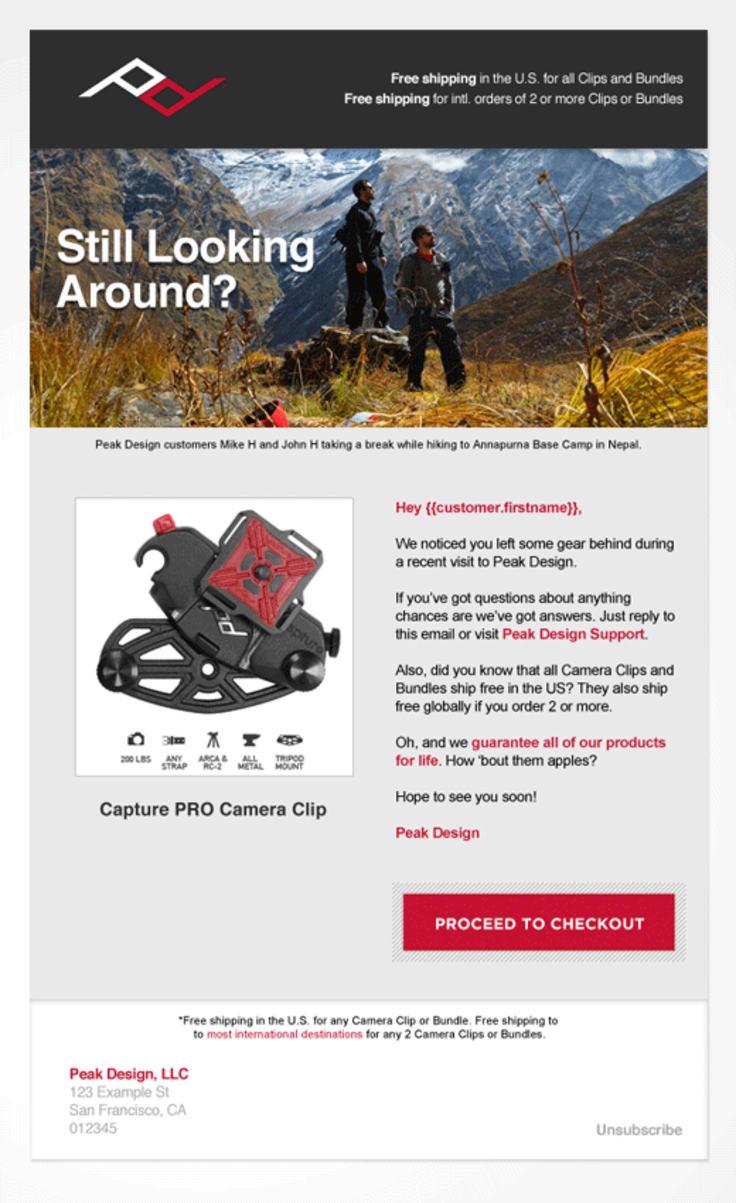 peak design cart abandonment email