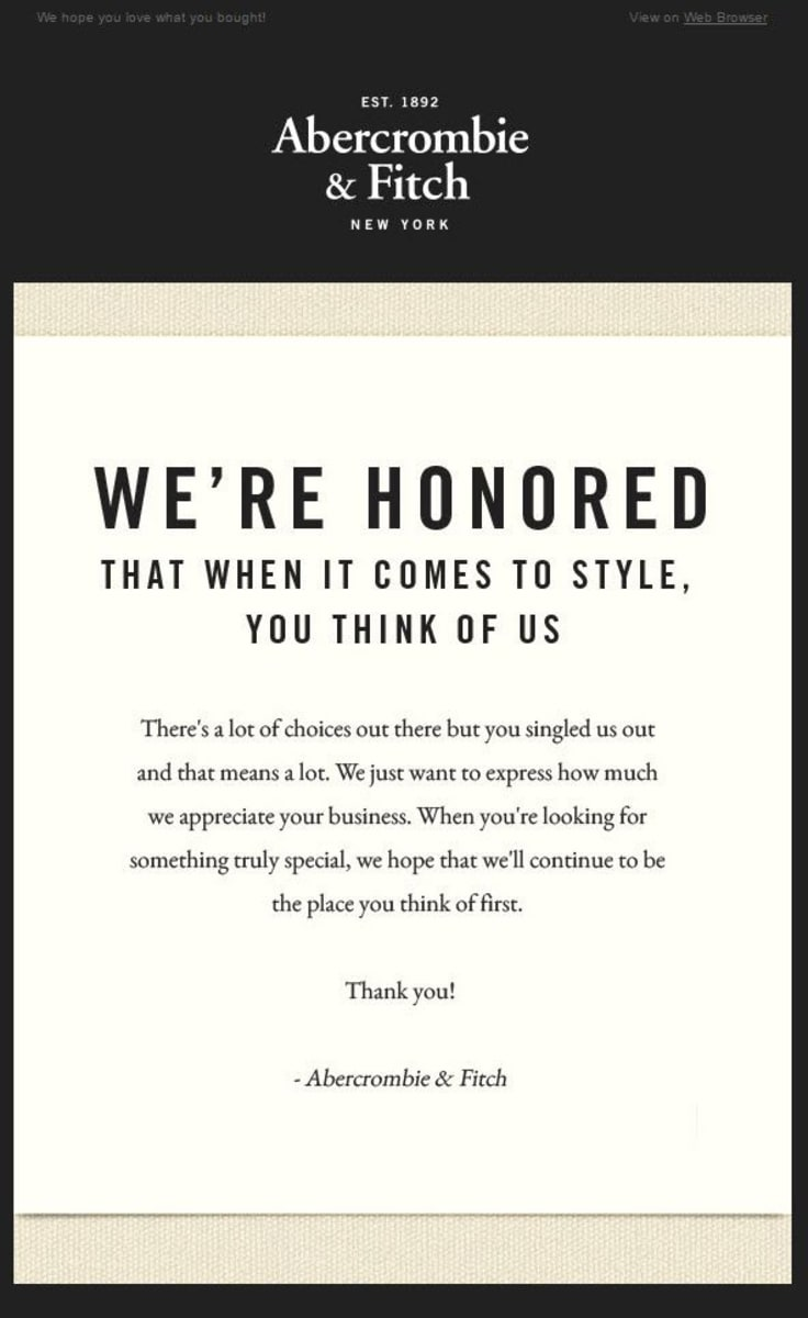 Abercrombie email marketing