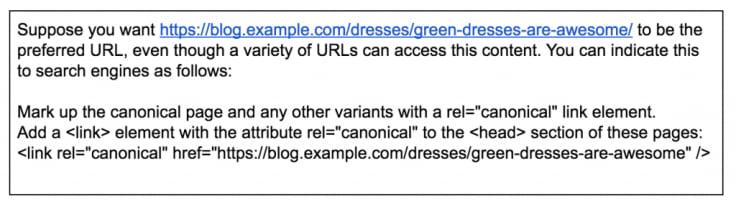canonical urls description