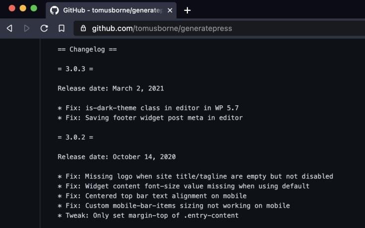 changelog generatepress