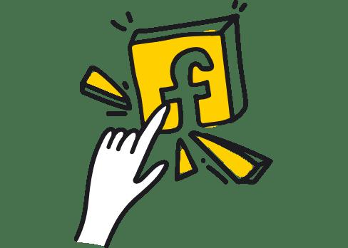 Finger pointing Facebook logo