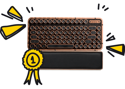 Retro-keyboard with attached first-prize ribbon