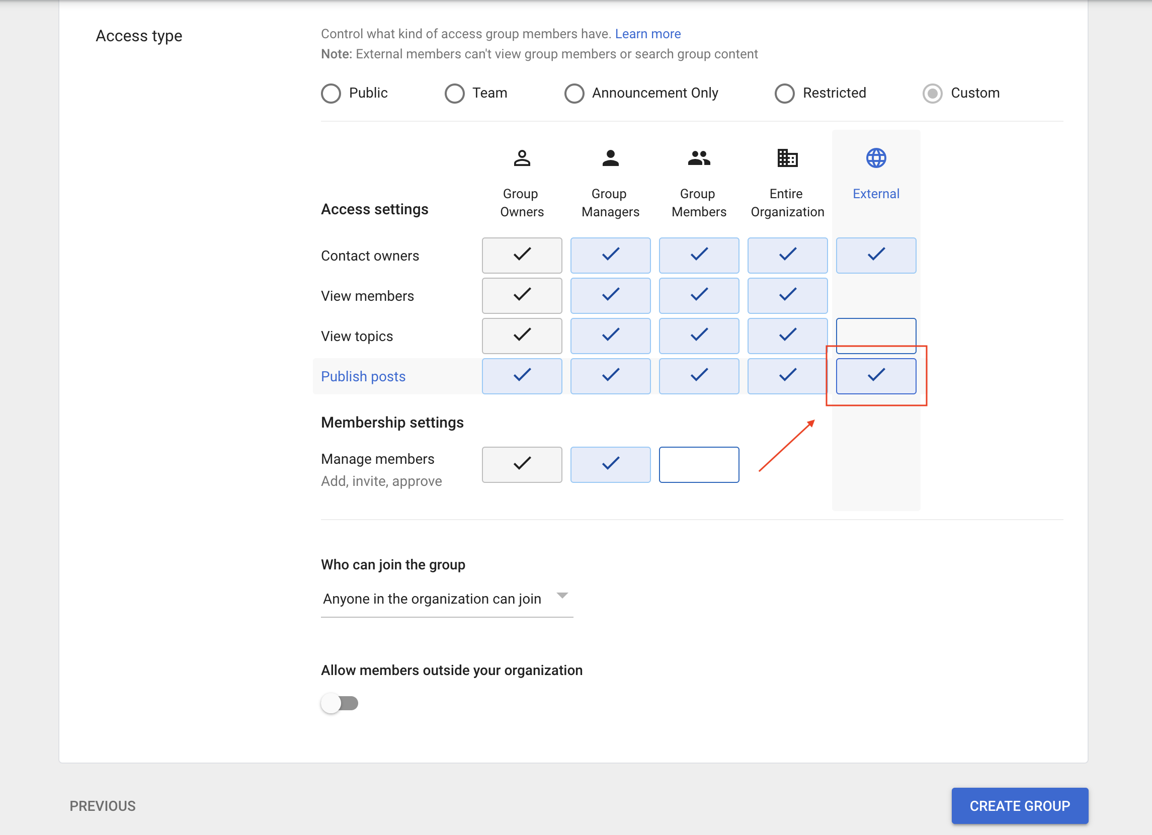 "Choosing ""access type"" in Google Groups"