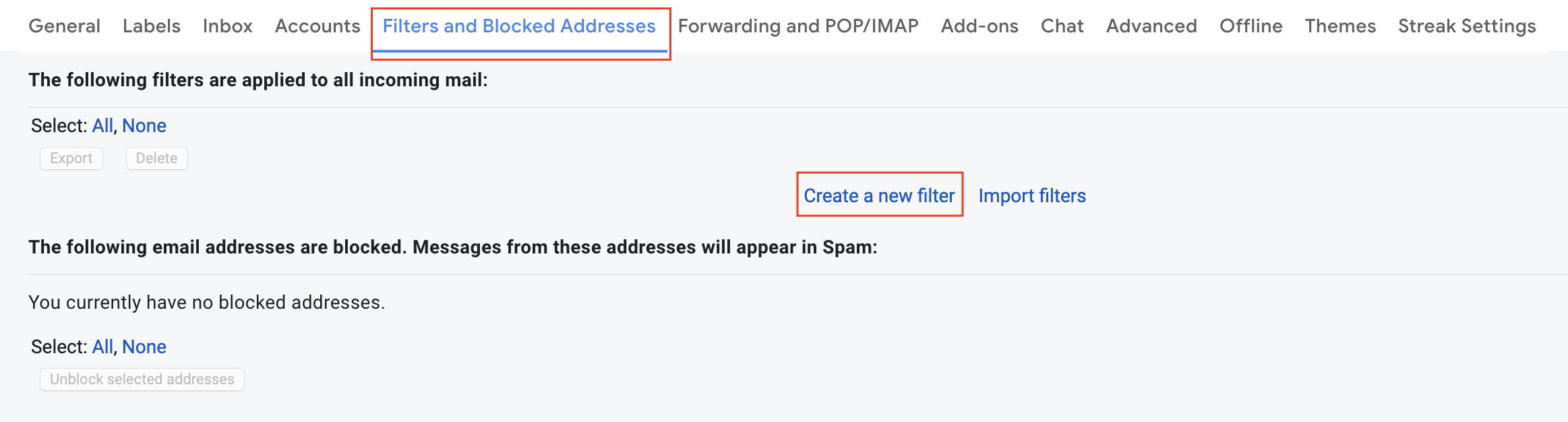 Creating filters in Gmail