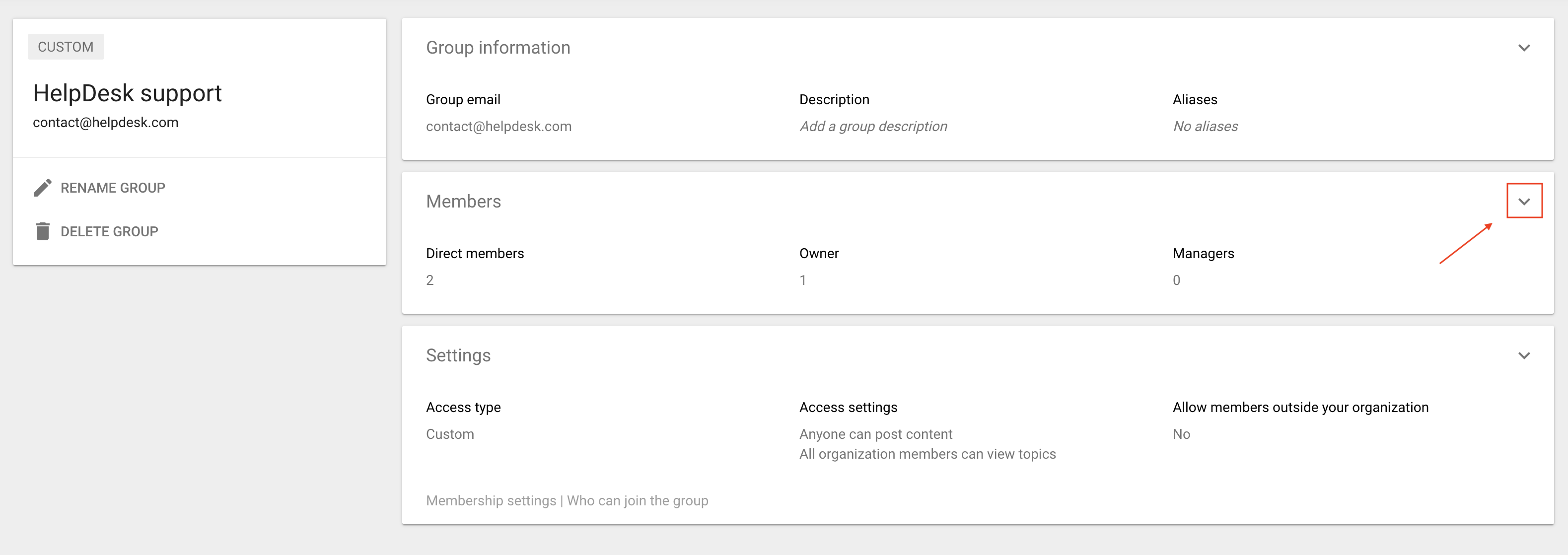 The Members section in Google Groups