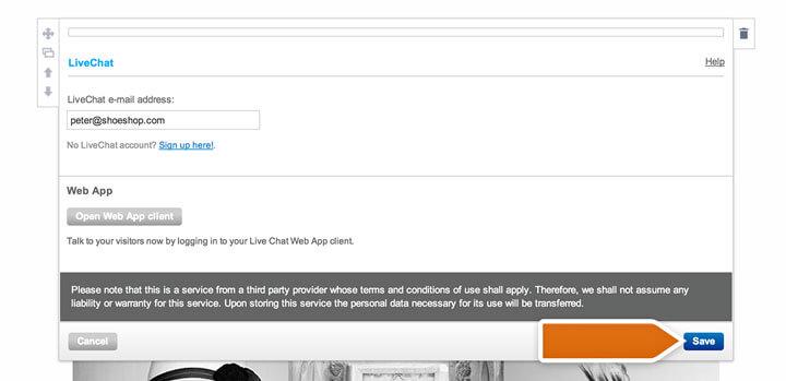 Saving LiveChat app settings